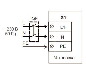 Схема подключения приточную установки Blauberg BLAUBOX E800-3.4 Pro к однофазной сети