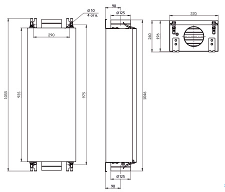 Габаритные размеры Minibox E-300 FKO 1/3,5kW Zentec