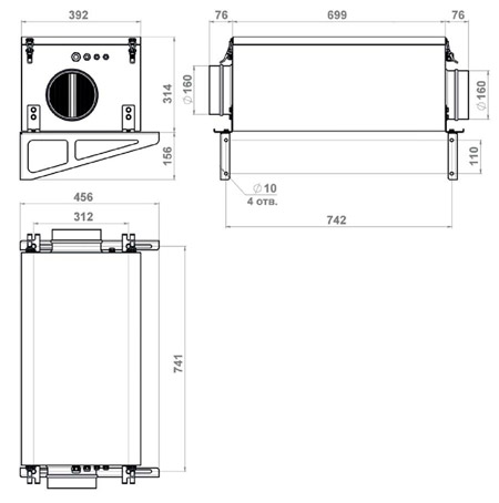 Габаритные размеры Minibox.E-650-1/5kW/G4