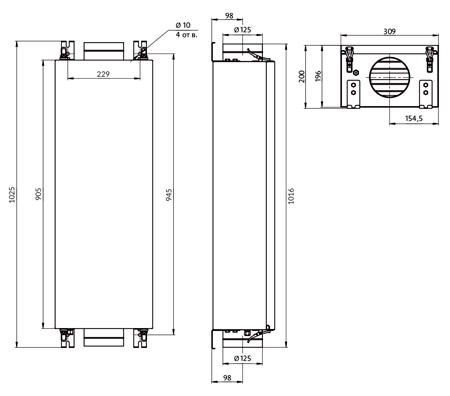 Габаритные размеры Minibox E-200 FKO 1/2,4kW Carel + Danfoss